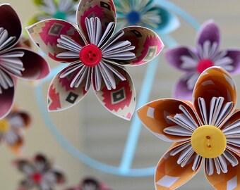 """Kusudama Flower Origami """"Patterned Rainbow"""" Baby Mobile"""