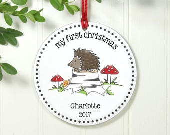 First Christmas Ornament Woodland Hedgehog Baby's First Christmas Ornament Personalized Christmas Ornament Baby Shower Gift