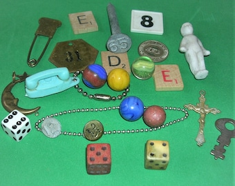 Vintage Lot Wooden Dice Vintage Marbles Dated Railroad Nail Vintage Phone Numbered Tag Vintage Key Doll Plus