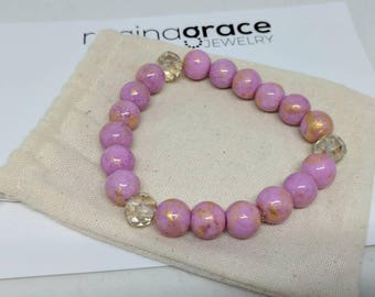 Pink glass beaded bracelet with champagne crystals