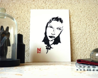 Drawing ink - woman Portrait - limited edition digital print / signed / numbered