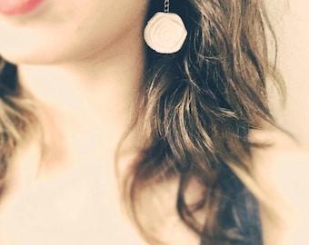White long rose earrings