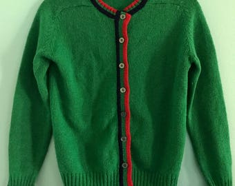 Bright Green Vintage Pappagallo Cardigan