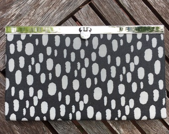 Black Grey Dots  Metal Frame Wallet, Metal Frame  Clutch, Wallet , Clutch , Bride Clutch, Bridesmaid Clutch