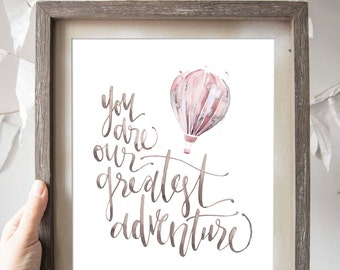 Greatest Adventure Hot Air Balloon Print in Pink