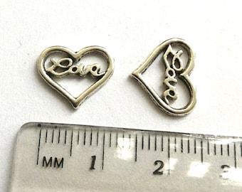 6 Love Heart charms silver tone
