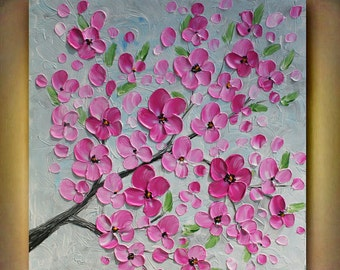 Original Pink Flowers Heavy  Impasto Acrylic Palette  Knife  painting. Size 24x 24. Made2Order.