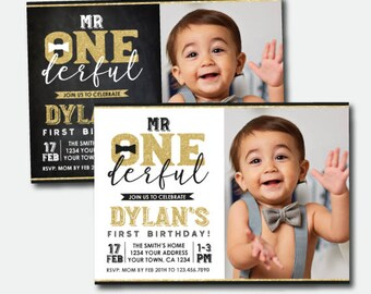 Mr Onederful First Birthday Invitation with Photo, Boys 1st Birthday Party, Personalized Invitations, 2 options