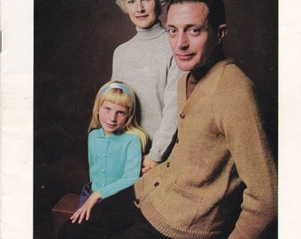 ON SALE Patons Knitting Pattern No 826 for Family in Scotch Mist - Vintage 1970s, Jumpers, Sweaters, Cardigans, Jackets.