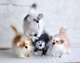 Doll cat for home decor Gift for cat lovers Knitted cat doll for home decoration kitty kitten cats needle felt cat plush kawaii gift for her