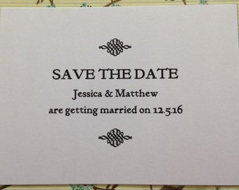 Save the Date Cards Ornate Style - Custom Wedding Invitations Personalised