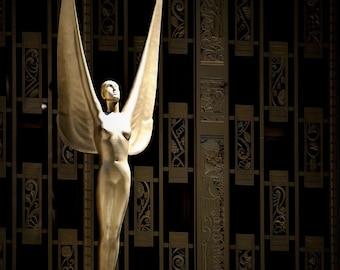 New York City Photography Art Deco Decor Modern Art Angel Art NYC Wall Decor Black Gold Sculpture NYC Photo Print Deco Art Wings Female