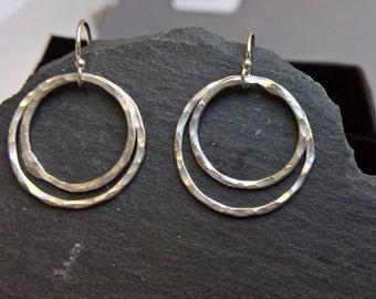 Double hoop earrings, fine silver hoop earrings, silver hoops, dainty hoop earrings, everyday earrings for women, silver hoop earings