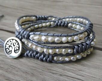 White freshwater pearl bracelet boho bead bracelet women Yoga pearl wrap bracelet Leather bead bracelet Wedding bracelet Jewelry SL-0241