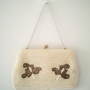 wedding bag, vintage handbag, 50s handbag, 50s purse, beaded purse, pearl handbag, retro handbag
