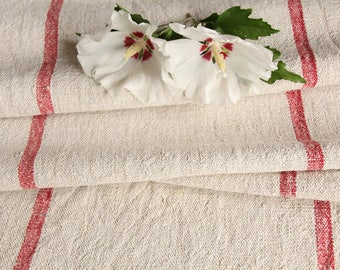 R 440 A: antique, hemp linen roll, faded RASPBERRY RED, grain sack, fabric, 3.82 yards, decor, lin, upholserty project, vintage, decoration,