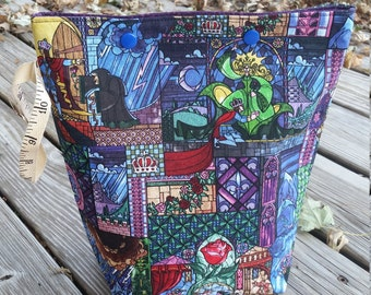 Knitting project bag / snap closure,  medium size / 2 skein sock knitting bag