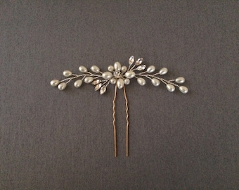 Bridal hair pin, Wedding hair pin with Rhinestone and Pearls, Bridal Hair Accesory, Ships from Canada, Quality Hair Accesories