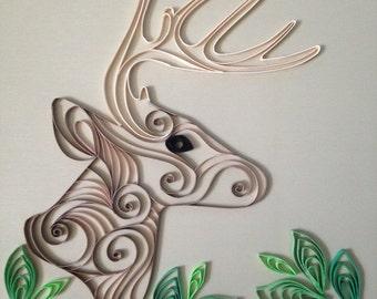 Handmade Quilled Paper Deer Art
