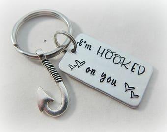 I'm HOOKED on you - Hand Stamped Fishing Keychain - Boyfriend Gift - Anniversary - Husband - Valentine's Day Gift - Fisherman Key Chain