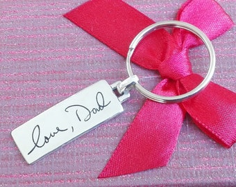 "1.5"" Double sided Handwriting Keychain. Your actual loved ones signature or handwriting. Fine Silver"