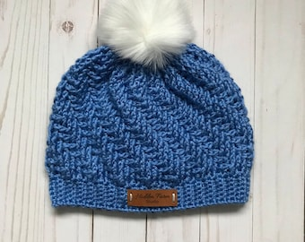 Adult Crochet Hat - Stepping Textures with detachable Faux Fur Pom Pom