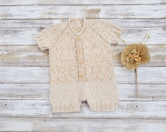 Hand Knit Baby Romper. Seamless Baby Romper. Baby Boy Romper. Baby Girl Romper. Cotton Romper.