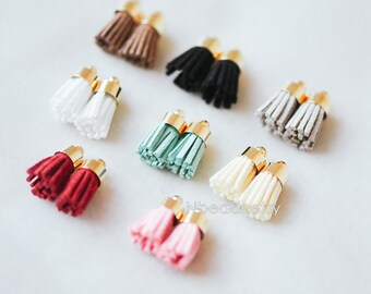8pcs Mini Suede Tassel with Gold Top Caps, Small Leather Tassel Charm Pendants 17x7mm, Available in 8 Colors (FB-004)