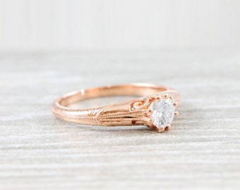 White sapphire engagement ring art nouveau 1900's inspired in rose gold handmade for her