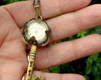 Neo Victorian, Steampunk, Key Necklace, Antiqued Brass, Blue Swarovski Crystal, OOAK
