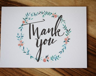 Thank you cards, Handmade Cards, Greeting cards, lettering, Set of 5 with envelopes