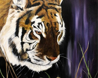 """Tiger Painting, Cat Art, Mouse Art, Wildlife Painting, Original Oil Painting on Canvas 12"""" x 16"""""""