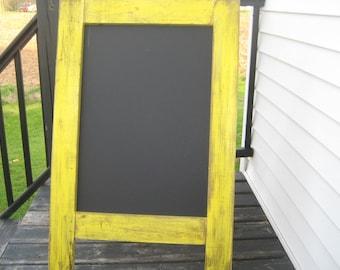Ready to ship Rustic sidewalk chalkboard.  Weathered, distressed sun yellow sandwich chalkboard.  A frame, easel, wedding outdoor.