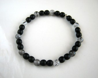 Black and Tourmalinated Quartz Stretch Bracelet Black Stretch Bracelet