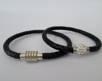 his and hers matching real cow hide leather bolo bracelet with magnetic  clasp