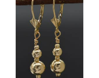 BE-166 New 14K Solid Yellow Gold Drop Leverback Dangle Earrings
