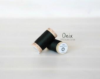 Organic Cotton Thread GOTS - 300 Yards Wooden Spool  - Thread Color Onix Black - No. 4808 - Eco Friendly Thread - 100% Organic Cotton Thread