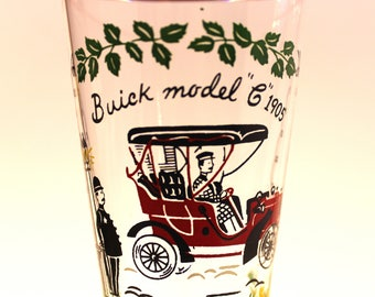 A Pair of Vintage Libby Buick Model C 1905 Pilsner, Retro Glassware, Antique Auto Themed Glassware, Mid Century Barware,