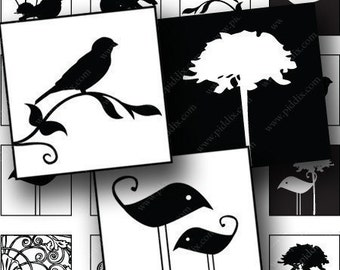 Black and White Silhouette Birds and Swirls in .85 inch squares for scrabble tiles and more -- piddix digital collage sheet 694