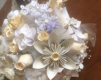 The Victorian Wedding Origami Flower Bouquet With Lace,, Burlap, and 20 Neutral Book Page, Sheet Music Flowers