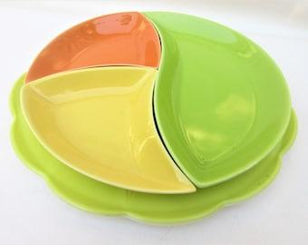 Vintage Hazel Atlas Platter   Newport Platonite Yellow   Sandwich Plate   Appetizer Tray   Divided Serving Dish – Lot of 4 Pieces