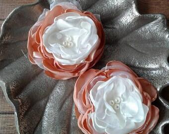 Peach fabric flowers, peach satin flowers, Ranunculus flowers, wedding flowers, sew on flowers, layered flowers, flowers, burned flowers.