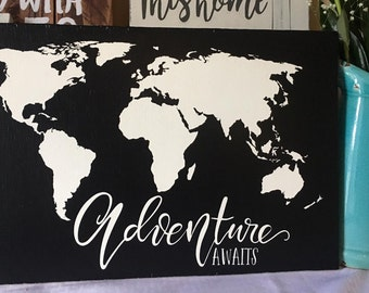Chalkboard world map etsy adventure awaits world map wood sign wall decor gumiabroncs Images