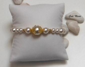 WEDDING bracelet white & gold Bra083