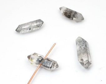 4 pcs double terminated quartz beads, natural point black and clear crystal Herkimer semiprecious stone 16mm - 20mm