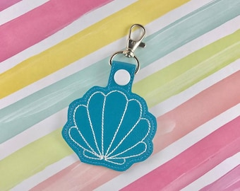 Shell Snap Tab Embroidery Digital File Instant Download key fob, machine embroidery design, in the hoop