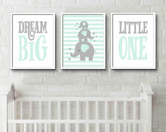 Cute nursery set of prints, animal nursery prints, grey nursery decor, elephants, dream big little one animal wall art