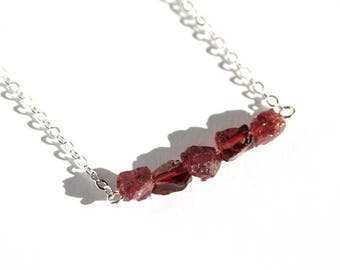 Natural Garnet Sterling Necklace Rough Cut Raw Stone Jewelry Sterling Silver Chain Rustic Dark Red Necklace January Birthstone #17648