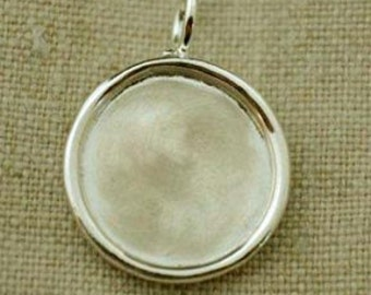 17mm Sterling Silver Rimmed Round Charm