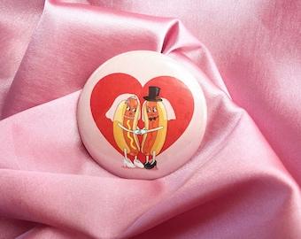 "Mrs. Hotdog Wedding 2.25"" Button Pin Badge"